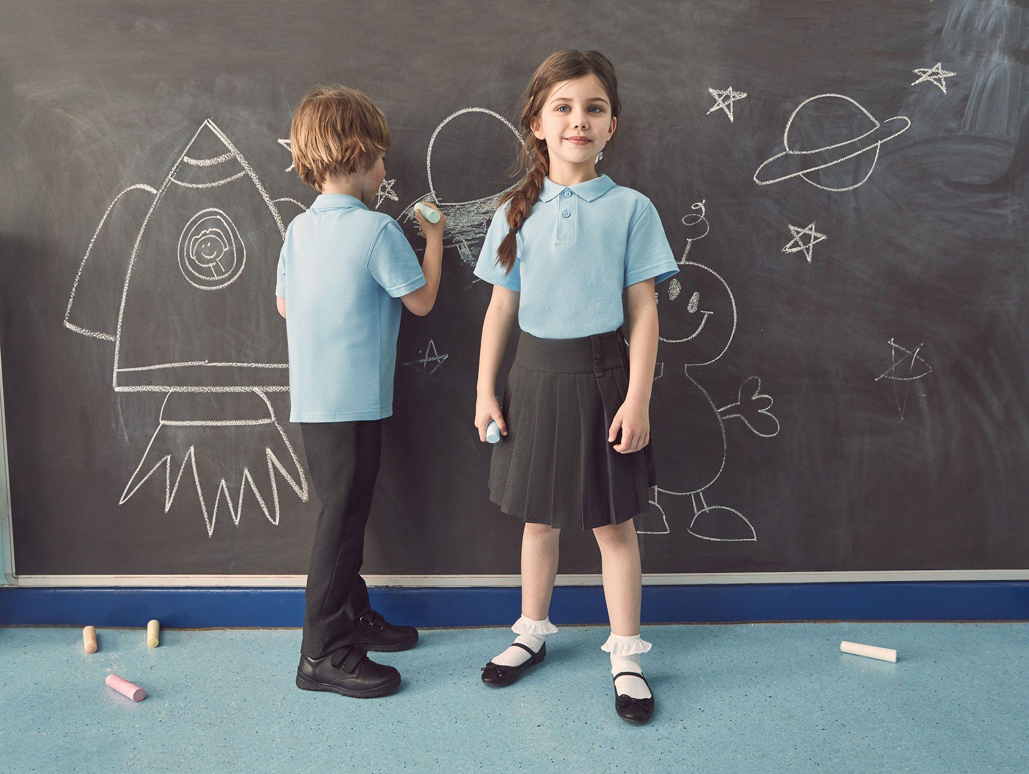 Boys School Uniform Shoes Black Child STICK Leather Back-to-School Comfort