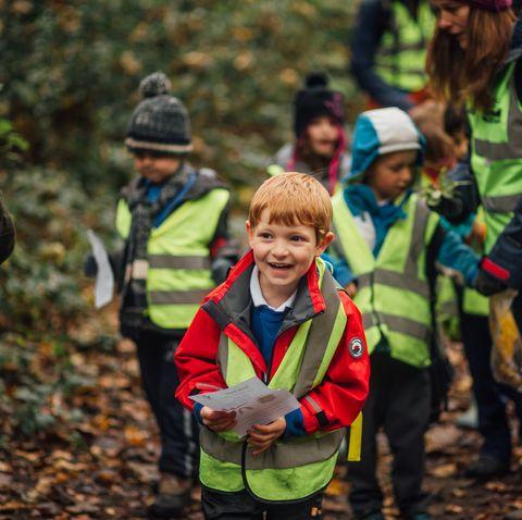 school children in nature