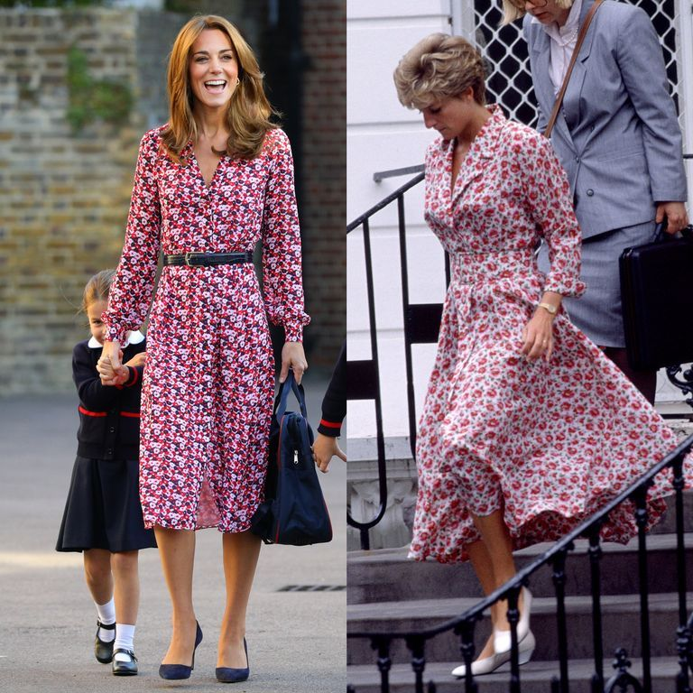 The Duchess of Cambridge looked lovely in a pink floral frock while dropping off Princess Charlotte to her first day of school on September 5, 2019, similar to a number that Princess Diana wore to drop off Prince Harry at school in 1992.