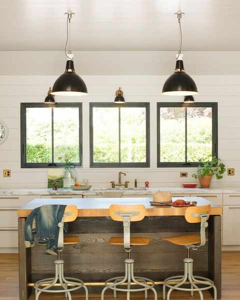 kitchen with industrial light fixtures