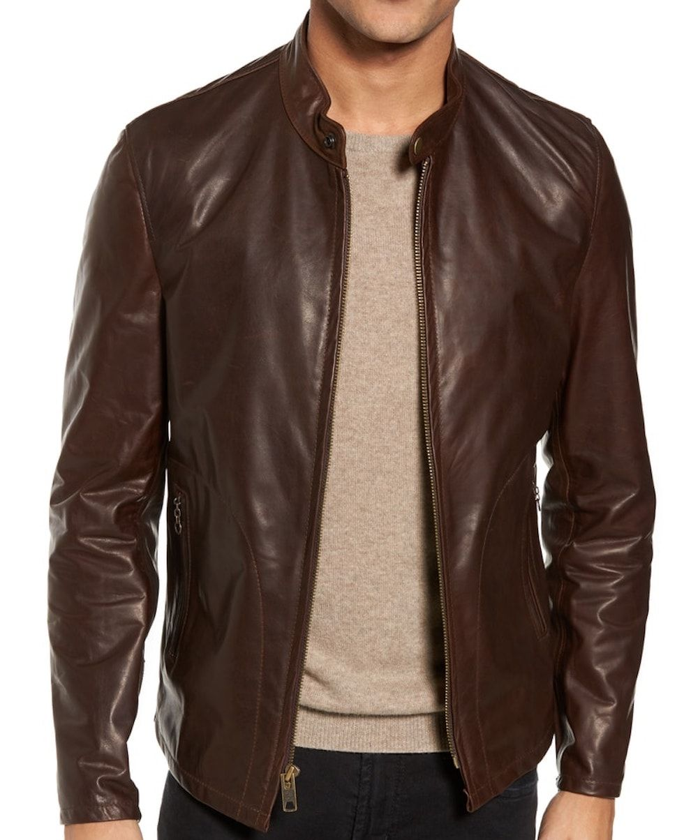 Schott NYC Cafe Racer Unlined Leather Jacket