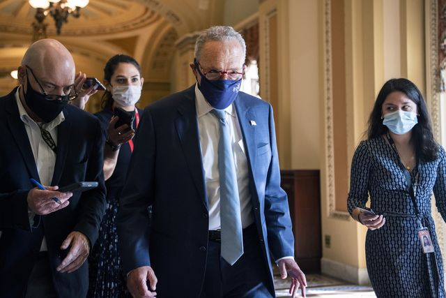 united states   october 7 senate majority leader charles schumer, d ny, is seen after a lunch with senate democrats in the us capitol on thursday, october 7, 2021 photo by tom williamscq roll call
