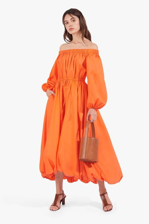 Clothing, Orange, Shoulder, Peach, Dress, Yellow, Joint, Fashion, Outerwear, Sleeve,