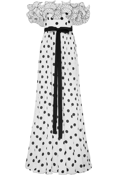 Clothing, Dress, Pattern, Polka dot, Day dress, Design, Sleeve, Black-and-white, Costume accessory,