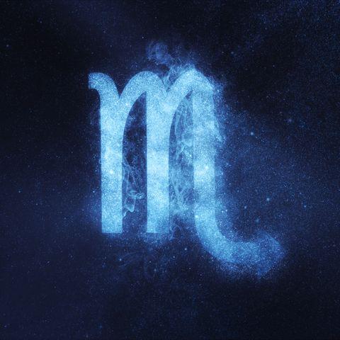 Scorpio Zodiac Sign. Abstract night sky background
