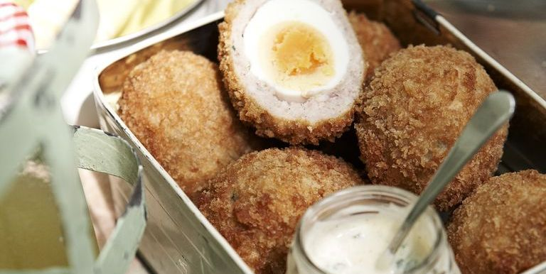 Scotch eggs with hot curry mayo