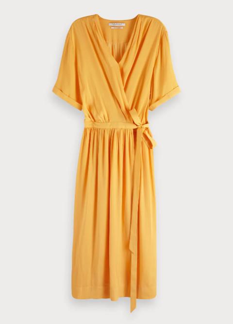Clothing, Day dress, Orange, Yellow, Dress, Sleeve, Robe, Neck, Nightwear, Cover-up,