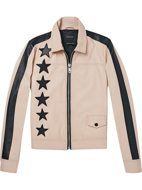 Clothing, White, Jacket, Outerwear, Sleeve, Beige, Leather jacket, Collar, Leather, Textile,