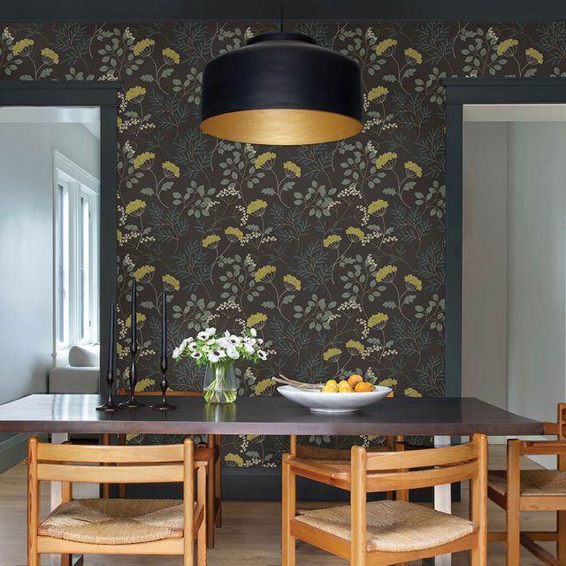dark botanical wallpaper, dining table, chairs