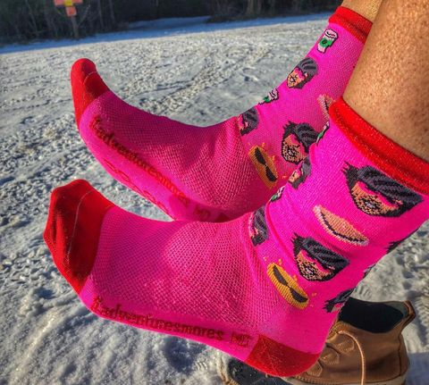 Pink, Sock, Magenta, Red, Joint, Ankle, Footwear, Leg, Knitting, Human leg,
