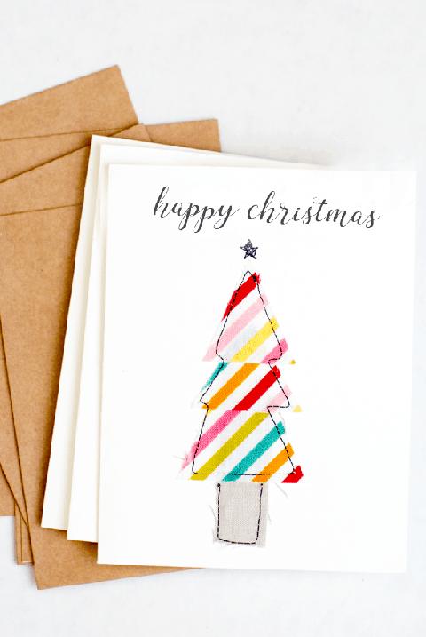scrap fabric diy christmas cards