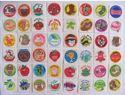 old school supplies stickers