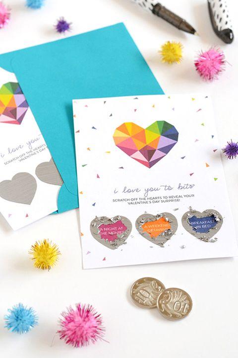 diy valentine's day cards scratch off