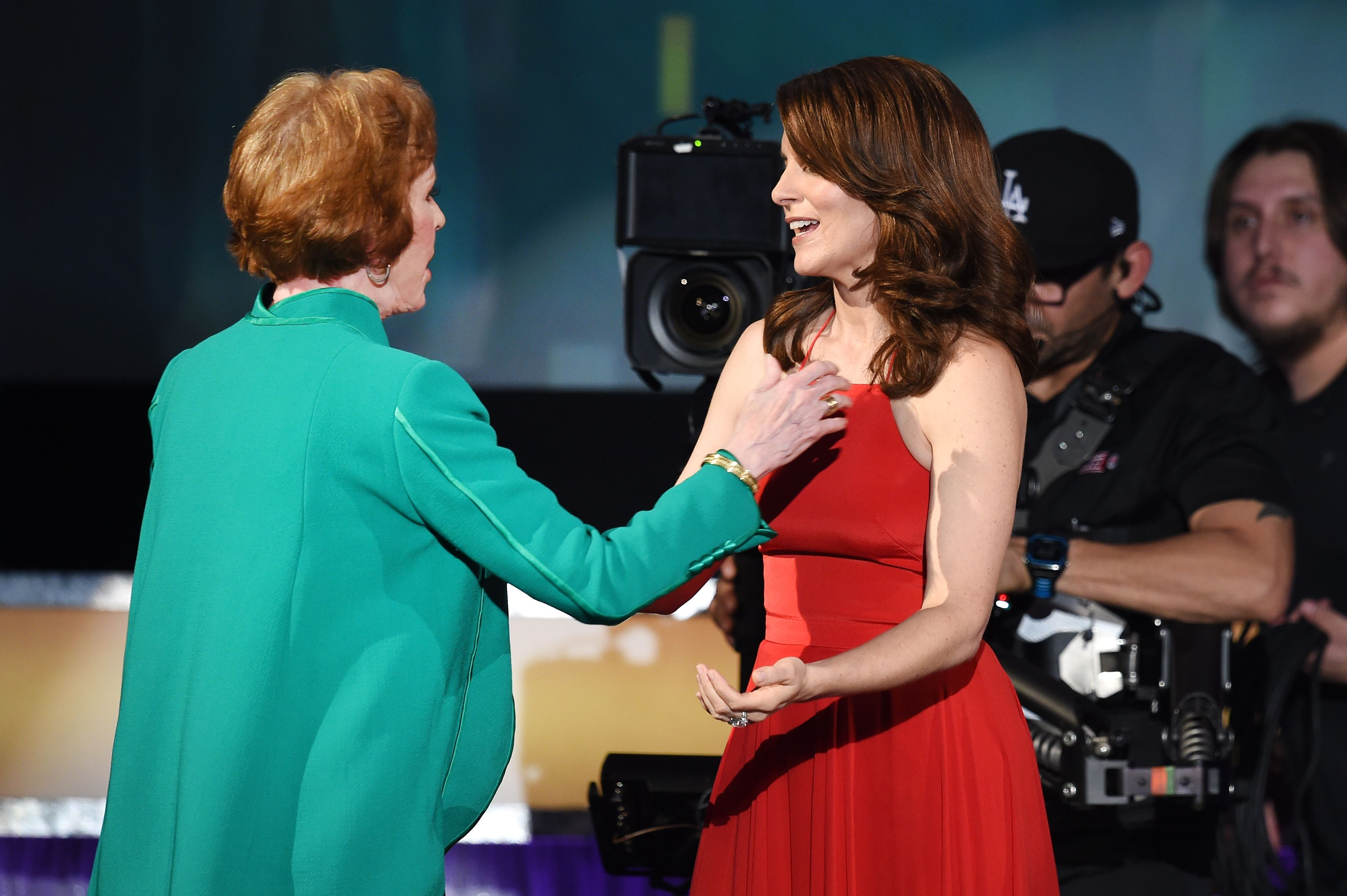 Burnett and Fey hug onstage at the SAG Awards.