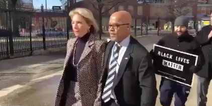 Are Pence And Devos One Two Knock Out >> Protesters Temporarily Blocked Secretary Betsy Devos From Entering A