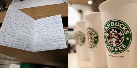 This Starbucks employee received a sweet apology card from customer