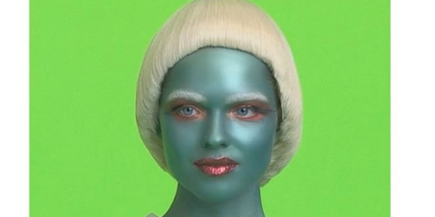 Lip, Collar, Style, Jaw, Colorfulness, Neck, Painting, Wig, Portrait, Fashion design,