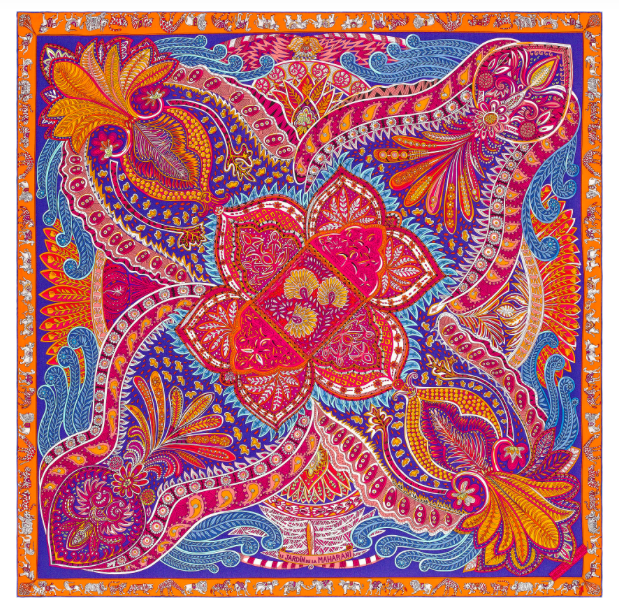 hermes orange and pink scarf