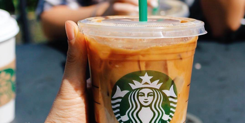 Drinkware, Drink, Logo, Denim, Drinking straw, Coffee, Fast food, Cup, Cup, Coffee milk,