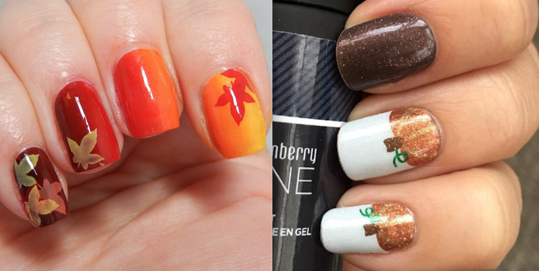 Because turkeys look even cuter on your mani. - 10 Adorable Thanksgiving Nail Designs - Best Holiday Nail Art