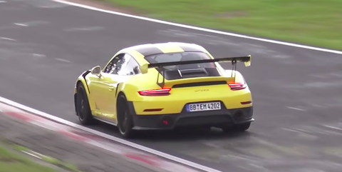 Porsche 911 GT2 RS Yellow on the Nurburgring