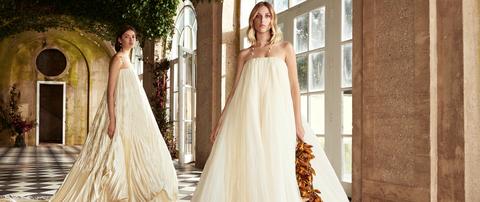 Gown, Wedding dress, Dress, Clothing, Bride, Bridal clothing, Bridal party dress, Photograph, Shoulder, Fashion model,