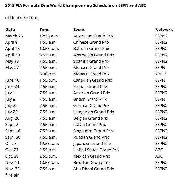formula 1 schedule 2019