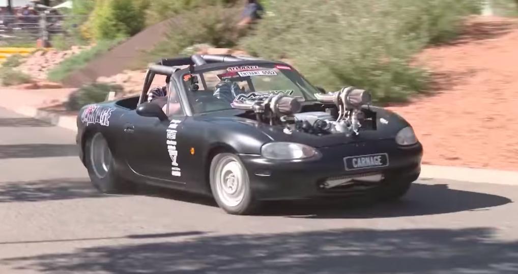 Watch This 1000-HP Twin-Turbo V8 Miata Rip Down the Drag Strip