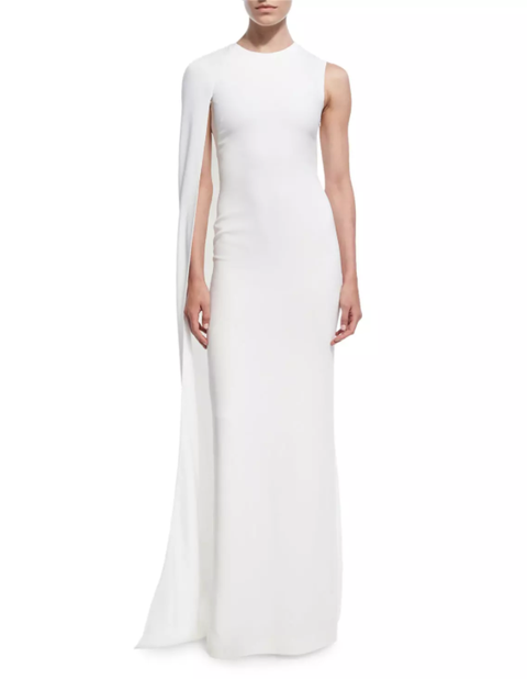 Clothing, Gown, Dress, White, Shoulder, Neck, Sleeve, A-line, Sheath dress, Formal wear,