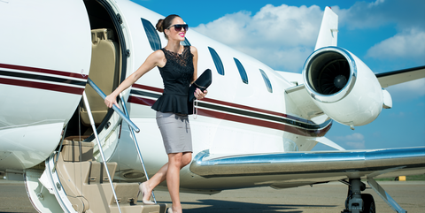 Woman On Private Plane Jet