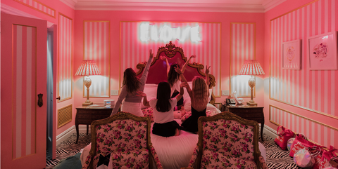 Pink, Room, Red, Interior design, Property, Furniture, Bedroom, House, Ceiling, Textile,