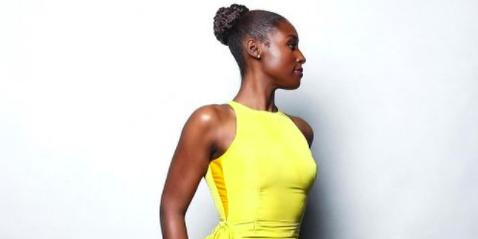 Fashion model, Clothing, Yellow, Dress, Shoulder, Cocktail dress, Fashion, Neck, Photo shoot, Model,