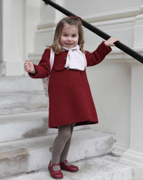 Red, Clothing, Child, Blond, Child model, Toddler, Footwear, Dress, Outerwear, Smile,
