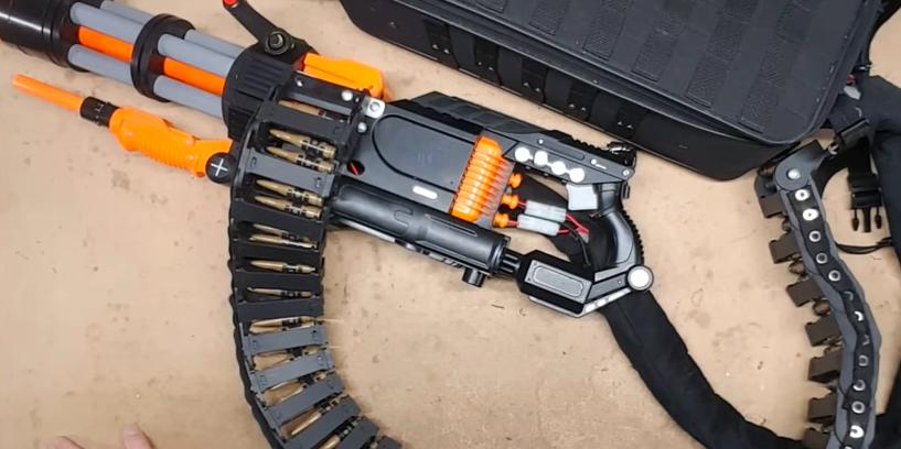 Watch This Nerf Style Minigun Unleash Hell