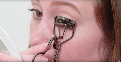 Eyelash, Cosmetics, Eyelash curler, Eye, Mouth, Glasses, Medical equipment,