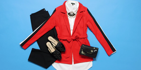 Clothing, Red, Outerwear, Sleeve, Jacket, Collar, Blazer,