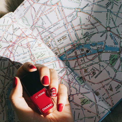 Red, Hand, Finger, Nail, Design, Material property, Photography, Map, Pattern,