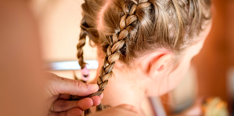 Hair, Hairstyle, French braid, Braid, Long hair, Hair coloring, Neck, Hand, Pigtail, Brown hair,