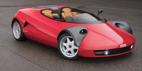 Land vehicle, Vehicle, Car, Automotive design, Red, Motor vehicle, Sports car, Concept car, Race car, Automotive wheel system,