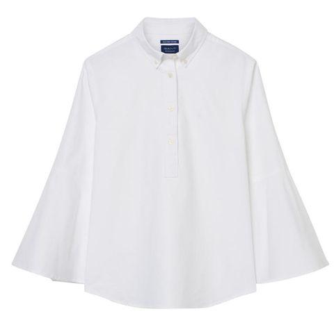 Clothing, White, Sleeve, Collar, Outerwear, Blouse, Neck, Button, Shirt, Top,