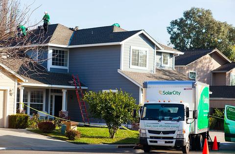 solarcity installation roof truck ladder