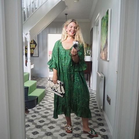 Green, Clothing, Dress, Fashion, Room, Footwear, Shoulder, Outerwear, Sleeve, Fashion design,