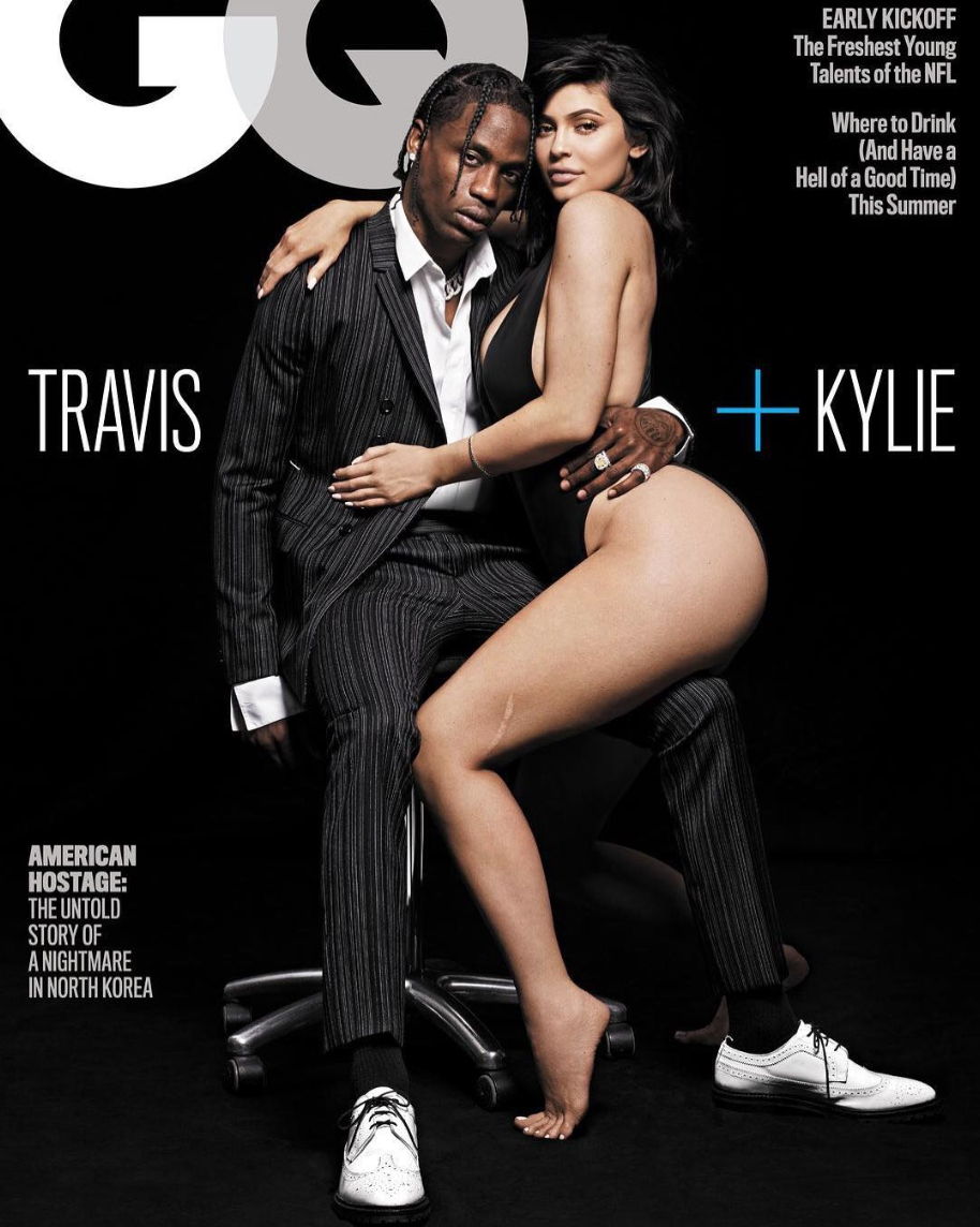 Image result for Kylie Jenner flaunts her bare butt in first magazine cover with Travis Scott