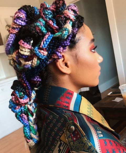 amandla Stenberg rainbow braids