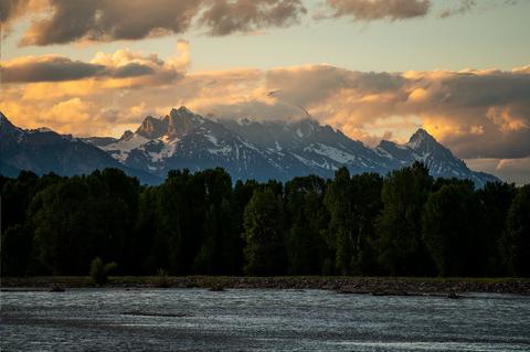 Sky, Mountain, Mountainous landforms, Nature, Water, Mountain range, Cloud, Wilderness, River, Highland,