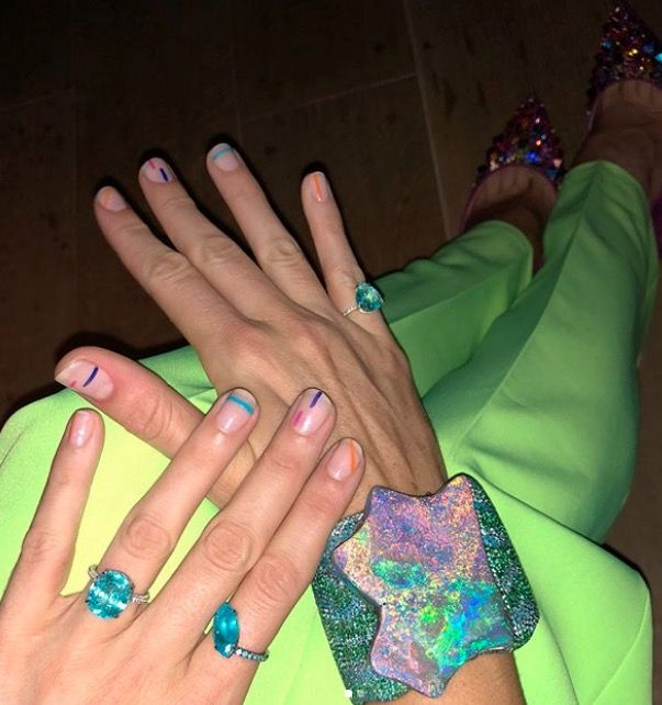 Blake Lively multi coloured nail manicure