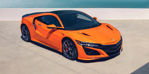 Land vehicle, Vehicle, Car, Sports car, Automotive design, Supercar, Yellow, Orange, Performance car, Honda,