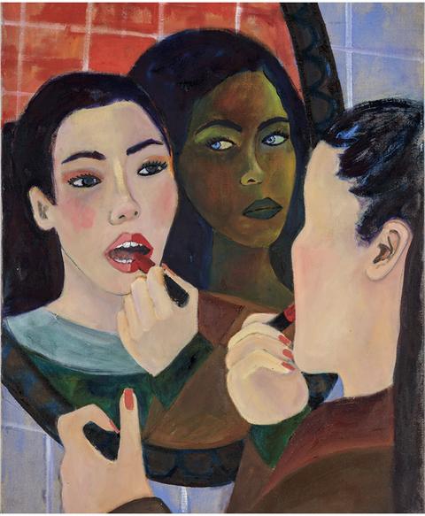 Face, Painting, Art, Modern art, Acrylic paint, Cheek, Nose, Watercolor paint, Lip, Portrait,