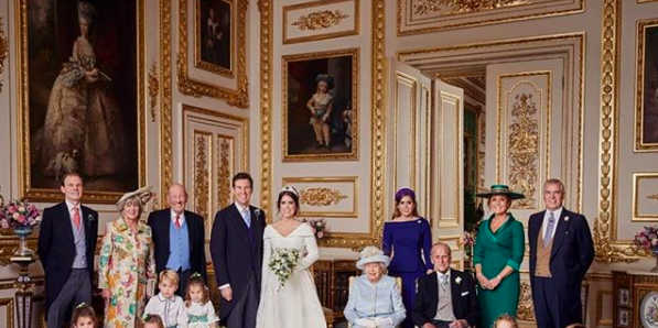 Princes Eugenie and Jack Brooksbank with their families - see Princess Eugenie official wedding photos