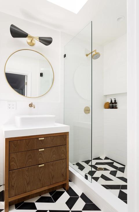 Bathroom, Room, Furniture, Interior design, Property, Floor, Sink, Bathroom cabinet, Tile, Bathroom accessory,